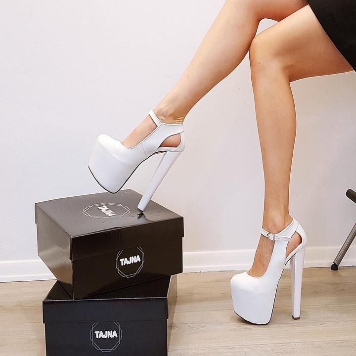 5e1a0302334 White Classic Ankle High Heel Platform Shoes - Tajna Club
