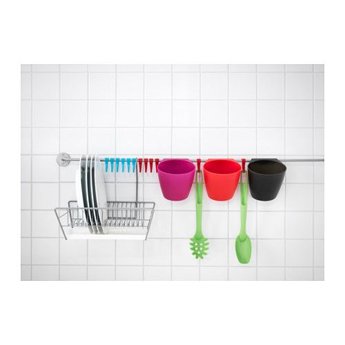 Hanging a dish rank on the wall frees up so much counter space. BYGEL Dish drainer  - IKEA