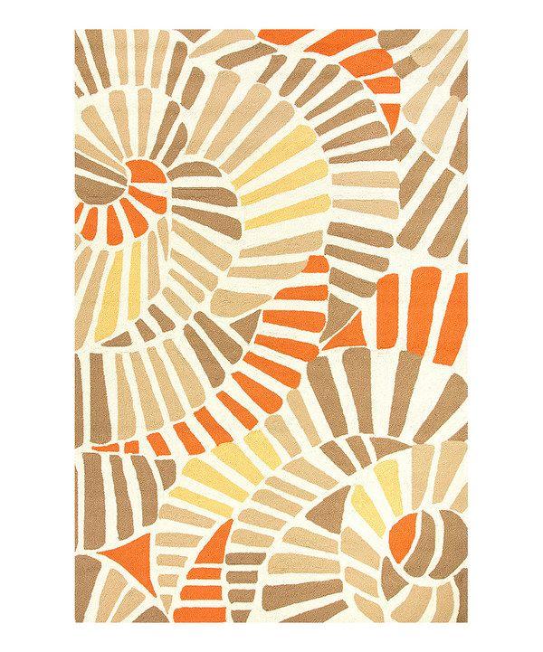Jaipur Rugs Orange & Taupe Swirling Tile Indoor/Outdoor