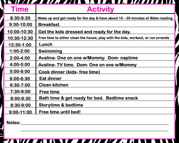 Stay At Home Mom Daily Schedule Template Image collections ...