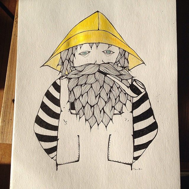 Another sailor from The Seven Seas. You can find this guy at @pondcafe this coming week #sailor #fisherman #beard #pibe #hipster #stripes #design #illustration #ink #fineliner #watercolour #janjuc #geelong #geelongart #art #painting #doodle #tinamose #instaart #interiordesign