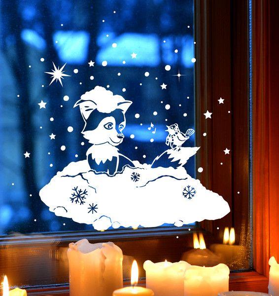 Fensterbild Winter Schnee Fuchs Schneeflocken 1705 von deinewandkunst auf DaWanda.com