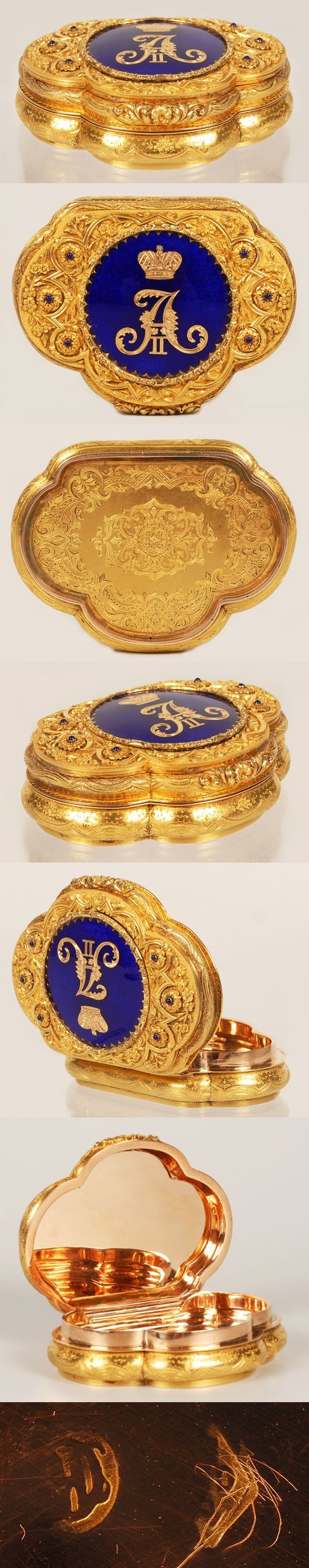 Gold Alexander II Snuff Presentation Box #antique #vintage #box
