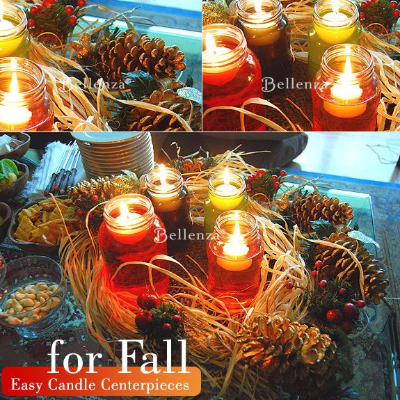 Fall Centerpiece Floating Candle Ideas: A Fall-inspired Candle Centerpiece: Handmade And