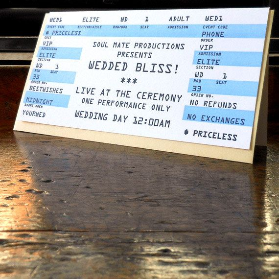 64 best Rockin Wedding images on Pinterest Marriage, Yellow and - invitations that look like concert tickets