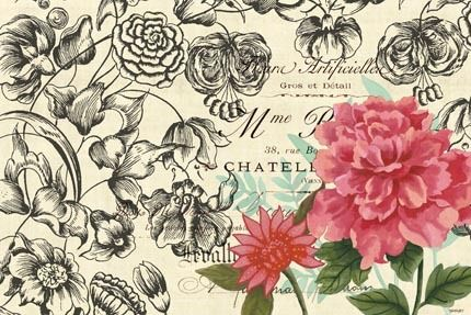 Vintage Toile Flowers-horizontal 4 by Jennifer Brinley | Ruth Levison Design