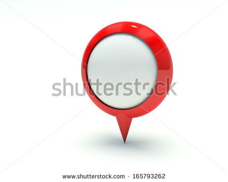 Map pointer in red. 3d render illustration. - stock photo