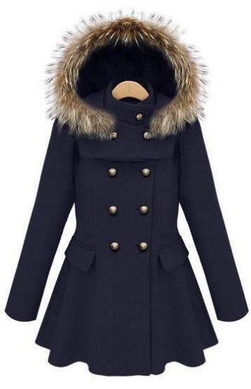 Navy Stand Collar Ruffles Buttons Coat pictures