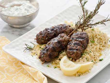Moroccan beef skewers with couscous and yogurt sauce