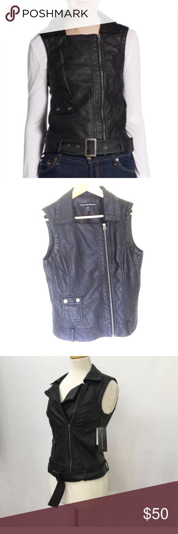 French Connection black quilted leather moto vest French Connection black faux leather moto vest. Quilted style. Belt missing. Size 4 US. Great condition. Love this! French Connection Jackets & Coats Vests