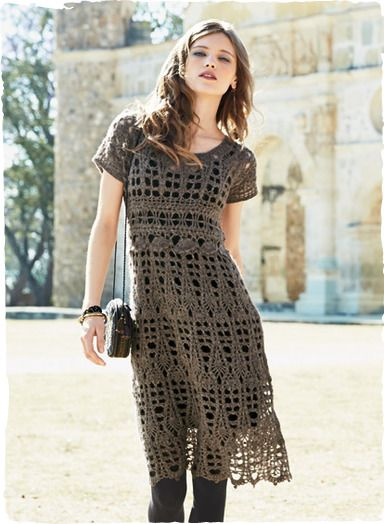 Our work-of-art dress is handcrocheted of frothy woolen-spun yarns for the effect of felted lace. Simply styled with a fitted bodice, raised waistline, rounded neck and a scalloped A-line hem. Baby alpaca (60%), nylon (35%) and wool (5%).