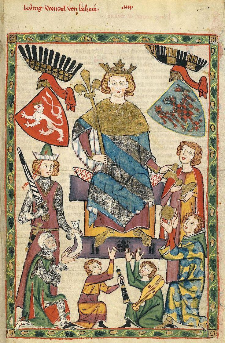 Wenceslaus II van Bohemen als minnezanger (Codex Manesse, 14e eeuw).