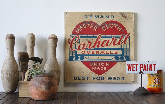 Vintage 1920's Tin Carhartt Workwear Sign by MDQualityGoods