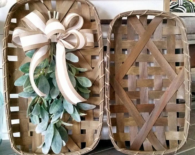 Large Decorated Tobacco Basket Wall Decor Tobacco Basket Decor