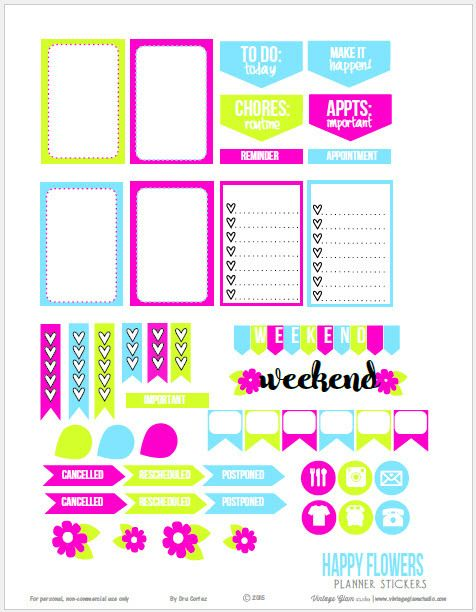 Happy Flowers Planner Stickers | Free planner stickers printable download suitable for Happy Planners.