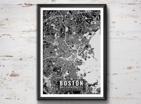 Boston Map with Coordinates Boston Wall Art by IdeateCreateStudio