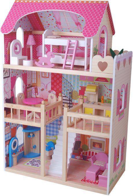 traumvilla holzpuppenhaus mit m beln puppenhaus holz weihnachtsgeschenke f r leseratten. Black Bedroom Furniture Sets. Home Design Ideas