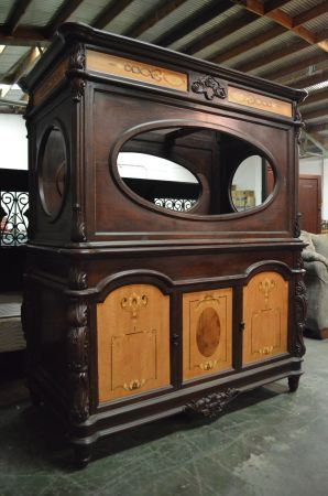 Victorian Style Inlay Wood Display Cabinet Aquarium by RelicRescue, $1850.00