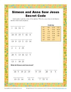 Simeon and Anna Secret Code   Kids Ministry Printable Activites