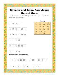Simeon and Anna Secret Code | Kids Ministry Printable Activites