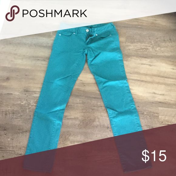 American eagle turquoise jeans Great condition! Slightly skinny leg American Eagle Outfitters Jeans Skinny