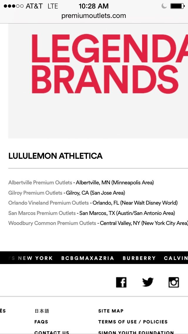 Lululemon outlet locations!