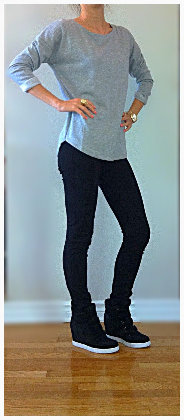 Comfy  casual look- Grey 3/4 sleeve shirt, black leggings from Jacob, black  white high heel wedge sneakers from Aldo, MK gold watch, Vince Camuto gold  diamond ring