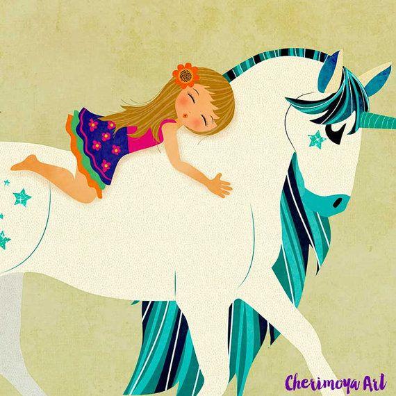 Unicorn Print Children nursery wall art Whimsical by CherimoyaArt
