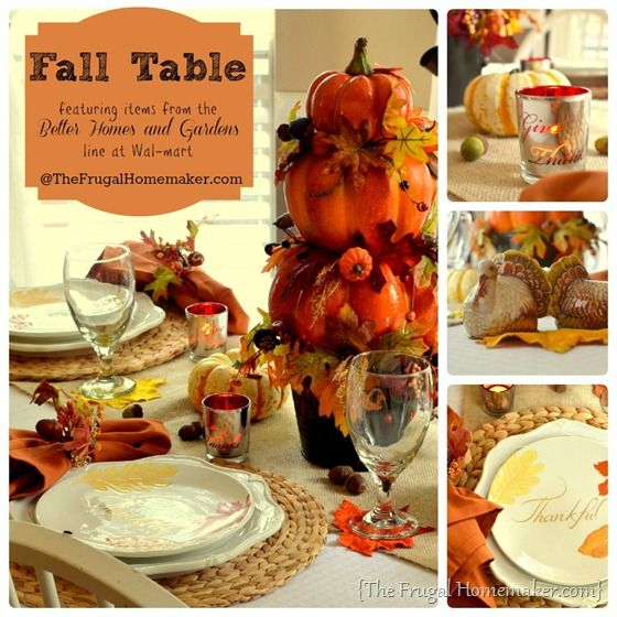 Fall Table {featuring items from the Better Homes & Gardens line at Wal-mart} via TheFrugalHomemaker.com