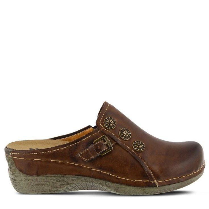 Spring Step Women's Endor Clog Shoes (Dark Brown Leather)