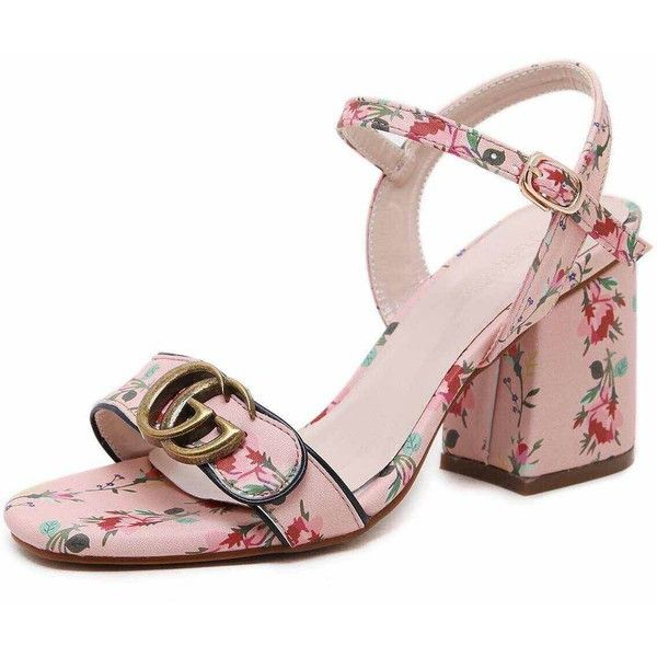 Calico Print Buckle Block Heel Sandals (€39) ❤ liked on Polyvore featuring shoes, sandals, platform sandals, flower print flats, peep toe sandals, peep toe block heel sandals and block heel platform sandals