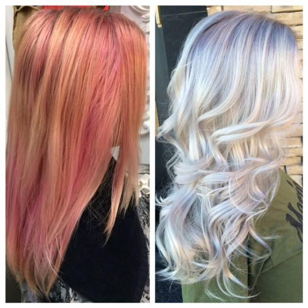 Faded Pink To HOT Ultra Light Blonde - News - Modern Salon Steg 1: Applicera Matrix Vlight med 20 volym från mitten av axeln till topparna. Steg 2: Applicera blekning med 20 volym till sin återväxt. Sätta håret i lock och förfarande för 20 minuter vid rumstemperatur. Skölj och schampo med Joico KPAK och sedan handdukstorka. Steg 3: Förbered toner: Patrice Ultra Light Blond, 20g 0,001 och 10g 0,002 med 10 volym utvecklare. Först till där håret hade fortfarande en lätt rosa nyans och sedan…