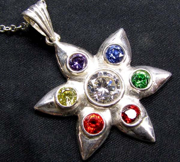 SEVEN CHAKRA  SILVER STAR MANDELA PENDANT GT2300  SEVEN CHAKRA GEMSTONE PENDANT SET JEWELLERY FROM GEM TRADERS,AT GEMROCKAUCTIONS