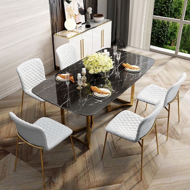 Modern 63 Rectangular Dining Table Faux Marble Top Golden Base Black Marble Dining Table Dining Table Marble Marble Top Dining Table Marble Dining Table Decor