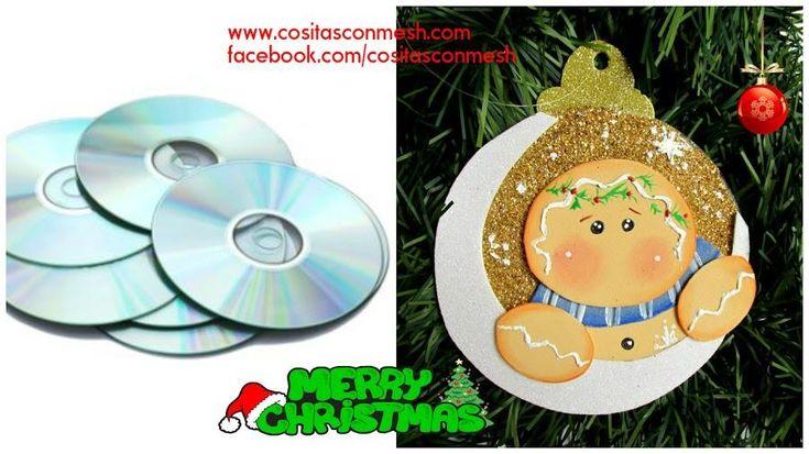 Adornos navideños con CDs reciclados