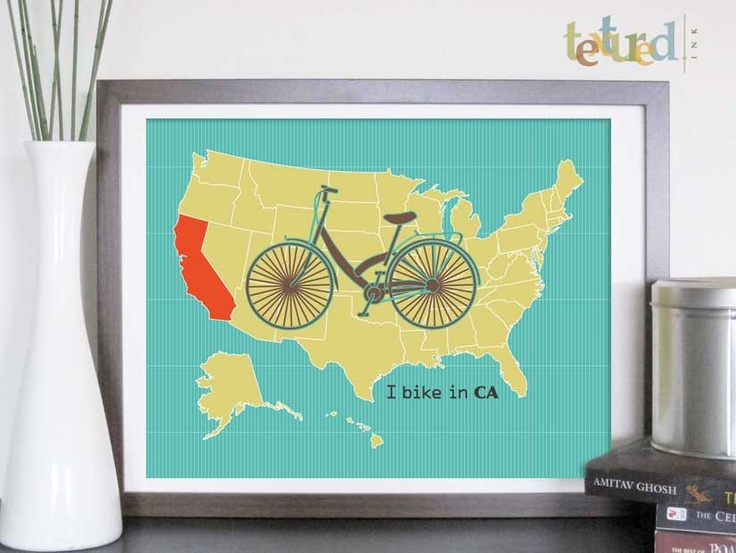 Bicycle Decor- Bicycle and US States, 12X16 Inches, customize to any size and color, Gift for cyclists, loft art. $30.00, via Etsy.