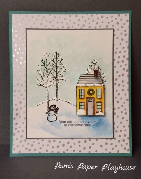 """Winter Holiday Home. Background tree can be from the """"Forever Young"""" Stamp Set. Notice the blue shadow at the base of the house over the snow."""
