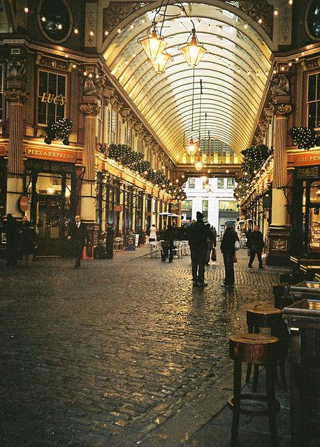 Leadenhall Market, London.  Fun fact: this is where they film the Diagon Alley scenes in the Harry Potter movies
