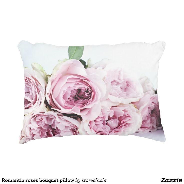 Romantic roses bouquet pillow