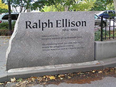 Ralph Ellison monument in front of 730 Riverside Drive