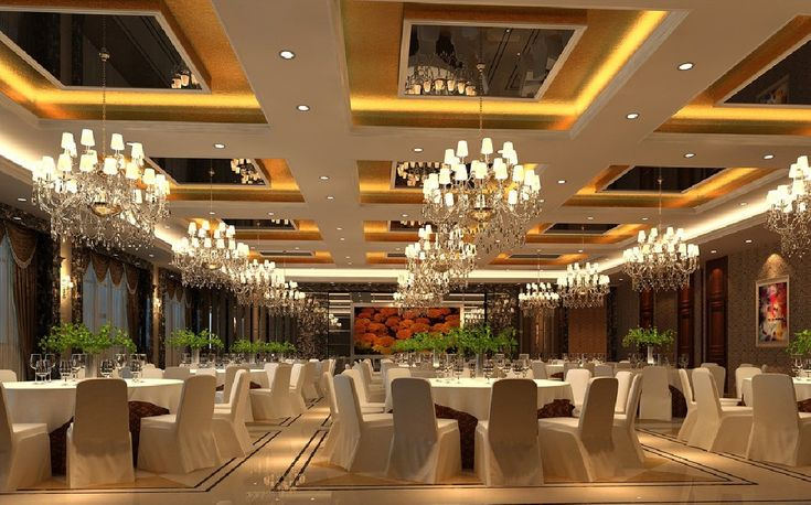 3d interior banquet hall suspended ceiling and chandeliers for Banquet hall designs layout