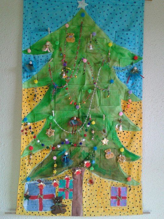 Decorated Christmas tree. (But I still see a few gaps where I need to sew a few more bobbles to hang things on.)
