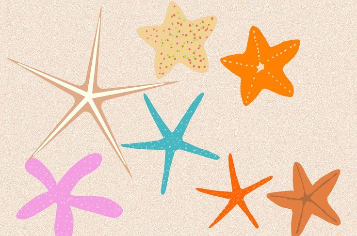 スターフィッシュ!南国の海の可愛いヒトデのイラスト素材集!カラフルと個性的な形のひとでがいっぱい!