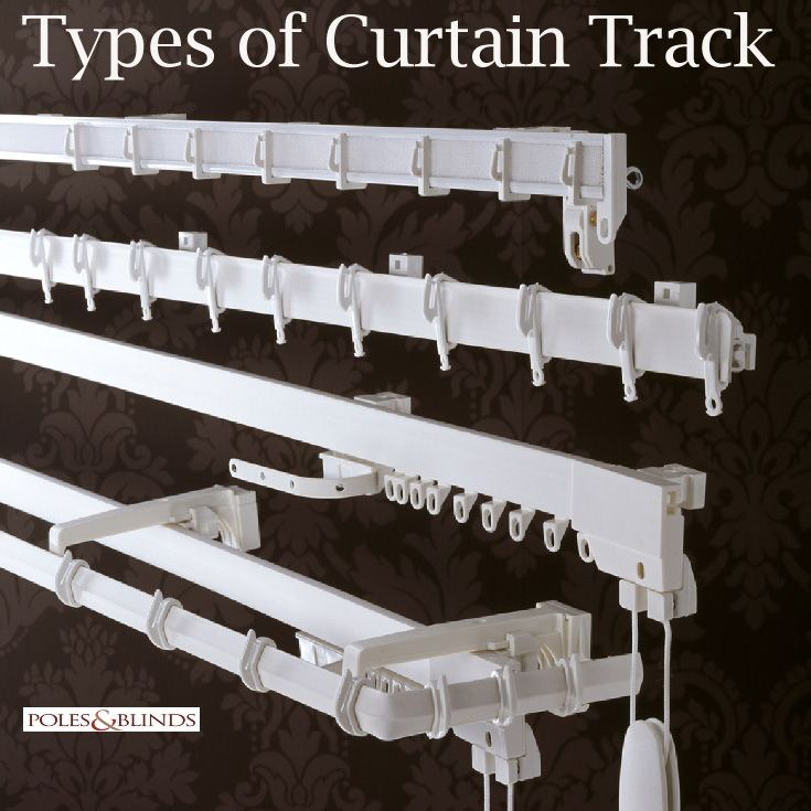 View Online http://www.polesandblinds.com/curtain-tracks/guides/#track%20type%27s%20Explained/ to see all the different types of both metal and plastic curtain tracks and rails. #curtains #interiordesign #homedecor #curtaintracks