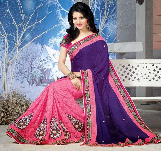 $60.82 Purple Georgette Half and Half Wedding Saree 56418