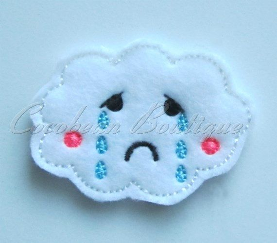 Sad cloud feltie mini embroidery-instant by CocobeanBoutique