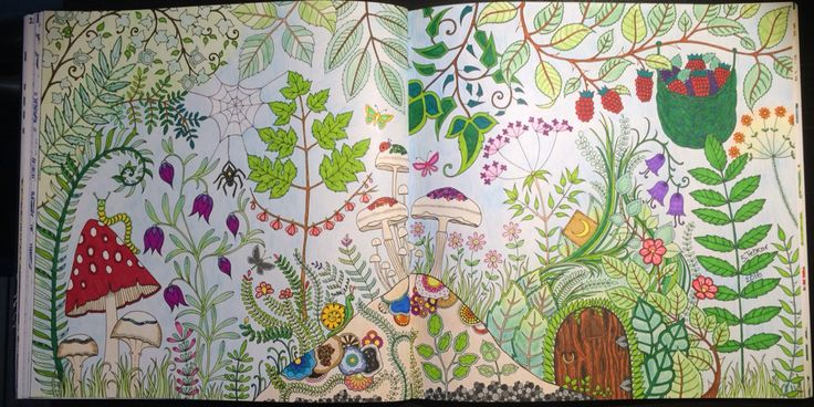 double-side with mushrooms, different kind of leaves and flowers From Johanna Basfords 'enchated forest'