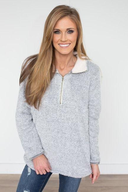 Snow Bunny Zip Up Pullover - Heather Grey