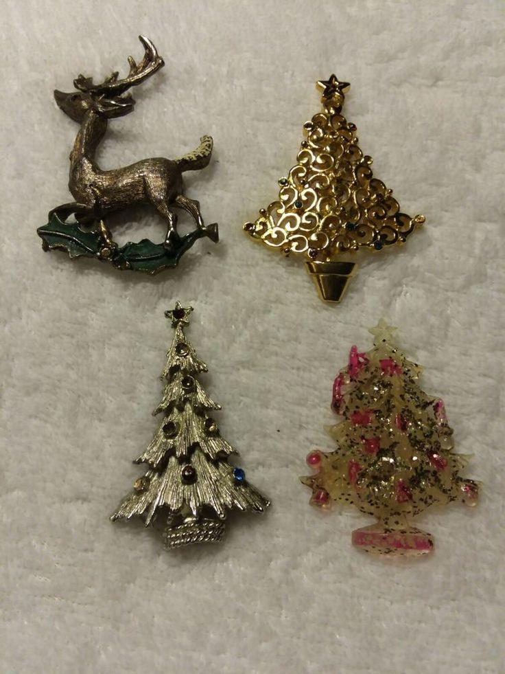 Vintage Modern Signed Ribbon Gold Tone Holiday Christmas Tree Pin Brooch Broach