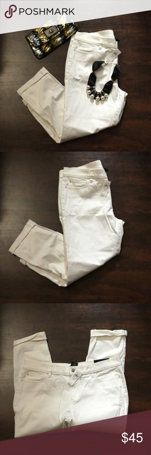 Ann Taylor white boyfriend jeans size 14 Ann Taylor white boyfriend jeans size 14. Approximate measurement waist 10.5 rise  10 inseam 24 out seam 35 thigh 10.5. Thank you looking. No reasonable offer refused.  Bundle your items for savings. Ann Taylor Jeans Boyfriend